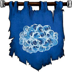 The Symbol of Akadi - White cloud on a blue background