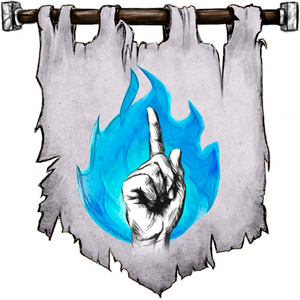 The Symbol of Azuth - Human left hand pointing index finger upward outlined in blue fire