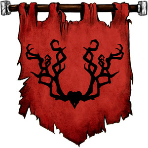 The Symbol of Beshaba - Black antlers on a red field