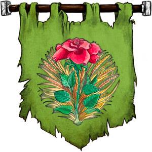 The Symbol of Chauntea - Blooming rose on a sunburst wreath of golden grain