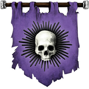 The Symbol of Cyric - White jawless skull on black or purple sunburst