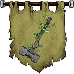 The Symbol of Dennari - Warhammer with leaves sprouting from handle