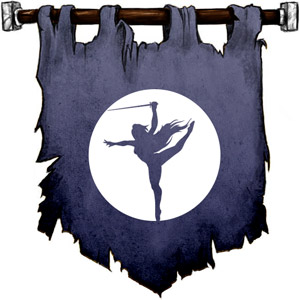 The Symbol of Eilistraee - Nude long haired female drow dancing with a silver sword in front of a silver moon