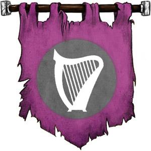 The Symbol of Finder Wyvernspur - White harp on gray circle