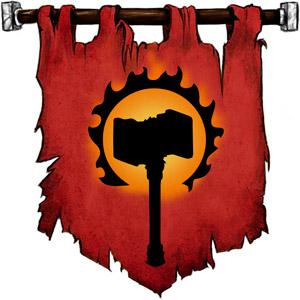 The Symbol of Flandal Steelskin - Flaming hammer