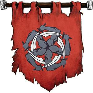The Symbol of Garagos - A pinwheel of five snaky arms clutching swords
