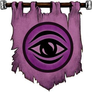 The Symbol of Ghaunadaur - Purplish eye on purple circle, with a black borders