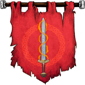 The Symbol of Haela Brightaxe - Unsheathed sword wrapped in two spirals of flame
