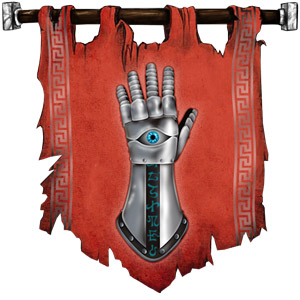 The Symbol of Helm - Staring eye with one pupil on an upright war gauntlet