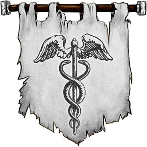 The Symbol of Hermes - Caduceus, a winged staff with two entwining serpents or winged boots