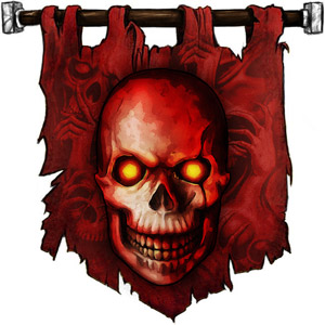 The Symbol of Iuz - Grinning human skull, or a human skull with blood-red highlights.