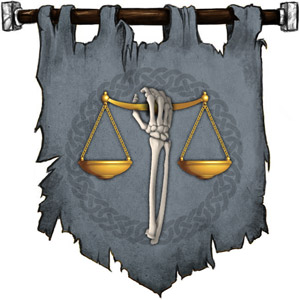 The Symbol of Kelemvor - Upright skeleton arm holding the scales of justice