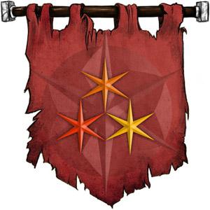The Symbol of Lliira - A triangle of three six-pointed stars (red, orange, yellow)
