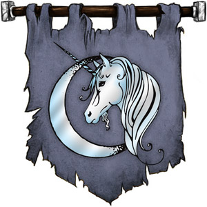The Symbol of Lurue - Silver-horned unicorn head before a crescent moon