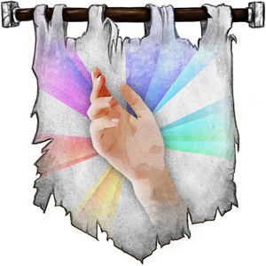 The Symbol of Lydia - A spray of colors from an open hand