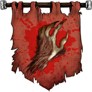The Symbol of Malar - Upright bestial claw hand with brown fur and curving bloody talons