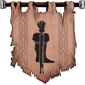 The Symbol of Marthammor Duin - Upright mace infront of a fur-trimmed leather boot