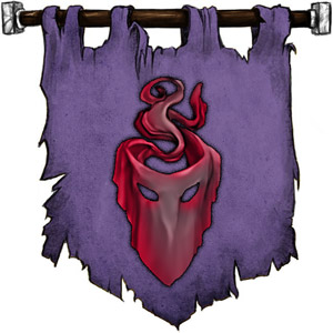 The Symbol of Mask - Black velvet mask tinged with red