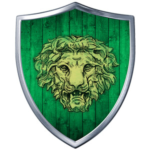 The Symbol of Nobanion - Male lion's head on a green shield