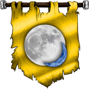 The Symbol of Pholtus - Silvery sun with a crescent moon on the lower right quadrant