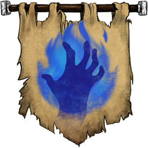 The Symbol of Raxivort - Blue flaming hand