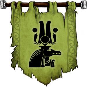 The Symbol of Sebek - Crocodile head wearing a horned and plumed headdress