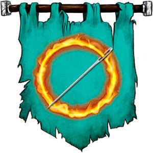 The Symbol of Sharindlar - Flaming ring rising from a steel needle