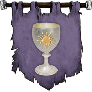 The Symbol of Siamorphe - Silver chalice with a golden sun on the side