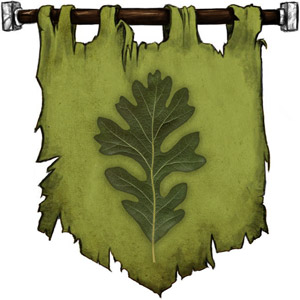 The Symbol of Silvanus - Upright green living oak leaf