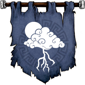The Symbol of Stronmaus - A forked lightning bolt descending from a cloud that partly obscured the sun