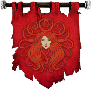 The Symbol of Sune - Face of a red-haired, ivory-skinned beautiful woman