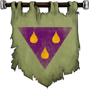 The Symbol of Talona - Three amber teardrops on a purple triangle