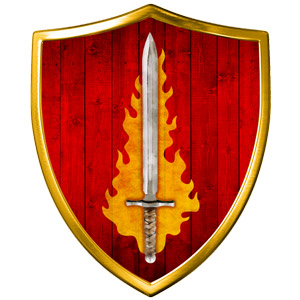 The Symbol of Tempus - A blazing silver sword on a blood-red shield