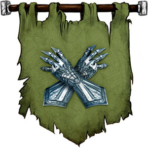 The Symbol of Thard Harr - Two crossed scaly clawed gauntlets of silvery-blue metal