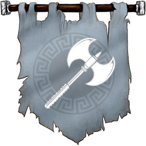The Symbol of Thrym - A white, double-bladed greataxe.
