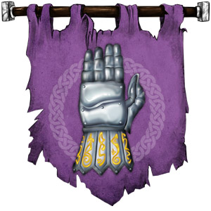 The Symbol of Torm - Right-hand gauntlet held upright with palm away