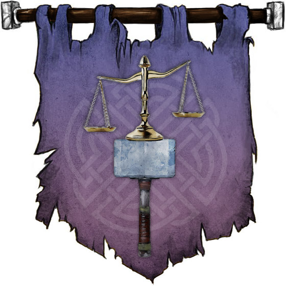 The Symbol of Tyr - Balanced scales resting on a warhammer