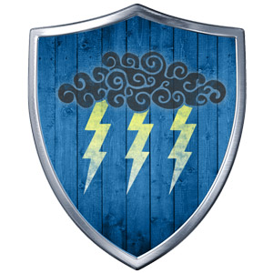 The Symbol of Valkur - Cloud with three lightning bolts on a shield