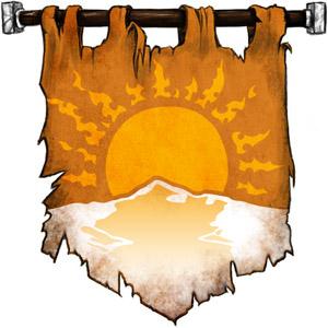 The Symbol of Vatun - Sun setting on a snowy landscape