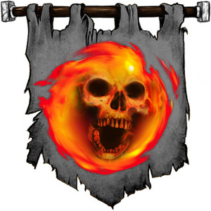 The Symbol of Wee Jas - Red skull wreathed in flame
