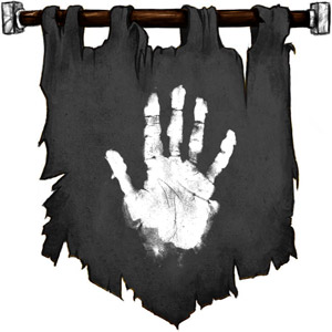 The Symbol of Yurtrus - White hand on a dark background