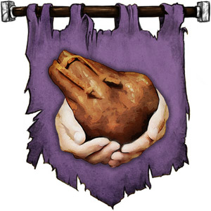 The Symbol of Zilchus - Pair of hands clutching a bag of gold